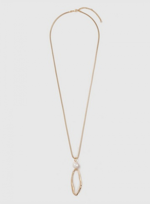 Dorothy Perkins Gold Pearl And Oval Drop Necklace