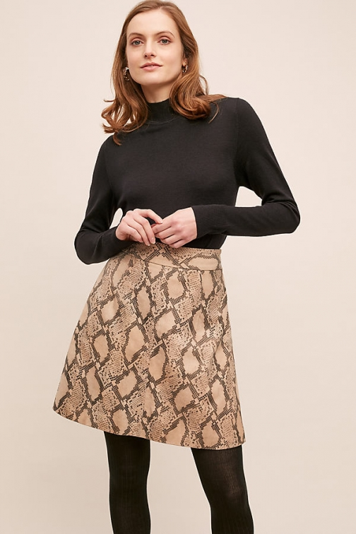 Just Female Noemi Snake-Effect Leather Skirt