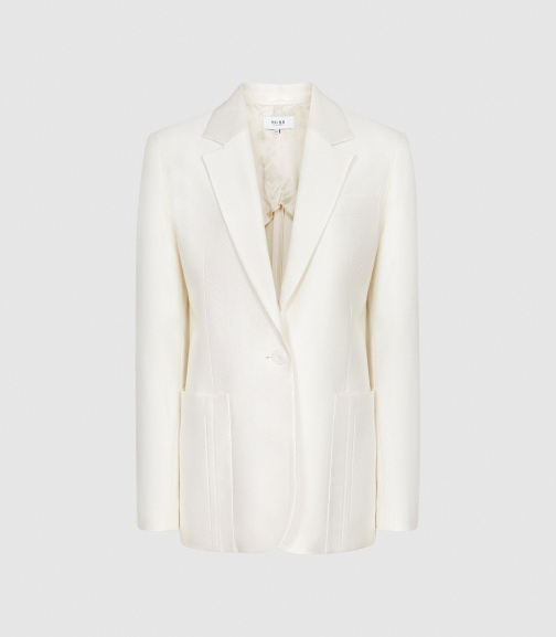 Reiss Indi - Single Breasted White, Womens, Size 4 Blazer
