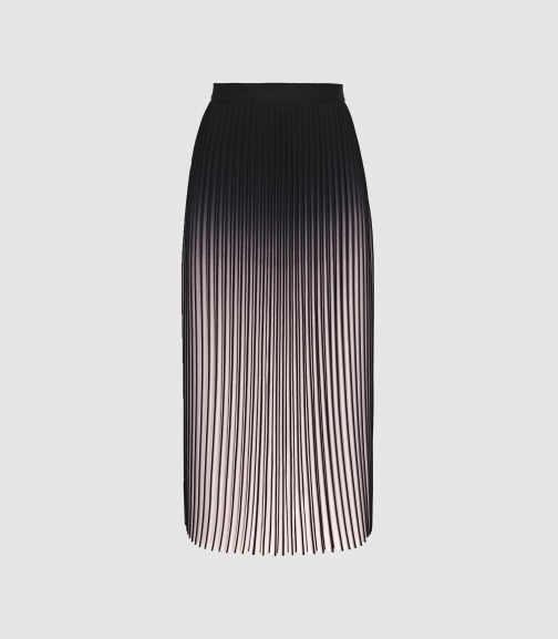 Reiss Marlie - Ombre Pleated Neutral/black, Womens, Size 4 Midi Skirt