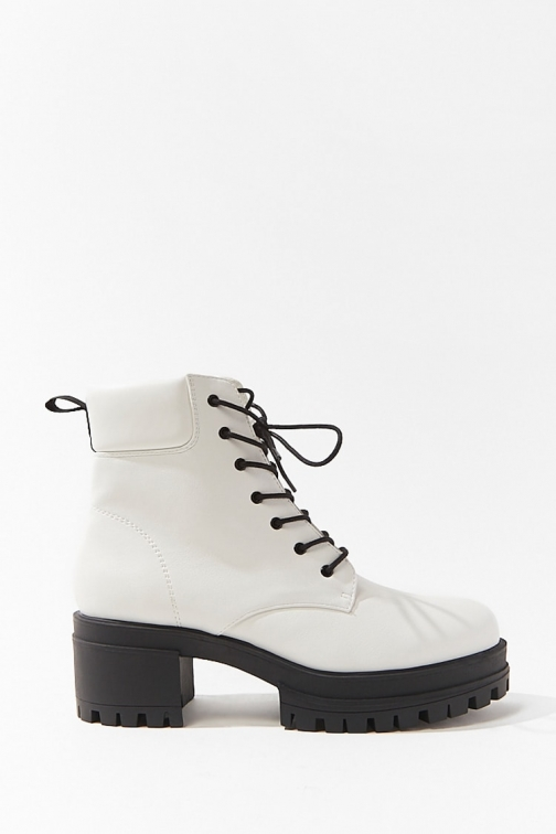 Forever21 Forever 21 Faux Leather Combat , White Boot