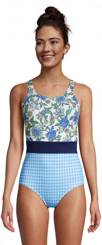 Lands' End Women's Chlorine Resistant Tugless One Piece Soft Cup Print - Lands' End - 10 Swimsuit