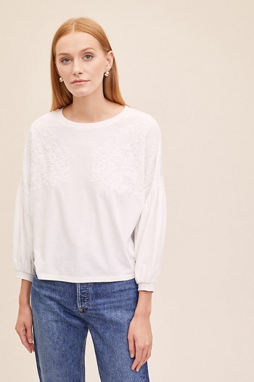 Anthropologie Yona Embroidered Top