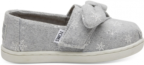 Toms Drizzle Grey Snowflakes Tiny TOMS Classics Slip-On Shoes