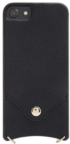 Forever21 Forever 21 Faux Leather Phone W/ Strap For IPhone 6/7/8 , Black/gold Case