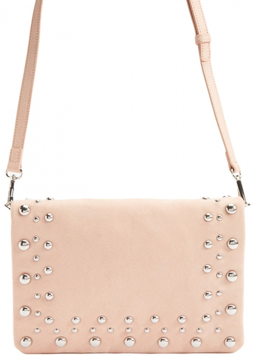 Forever21 Forever 21 Faux Suede Beaded Crossbody , Blush Crossbody Bag