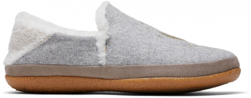 Toms Drizzle Grey Felt Embroidery Women's India Slippers