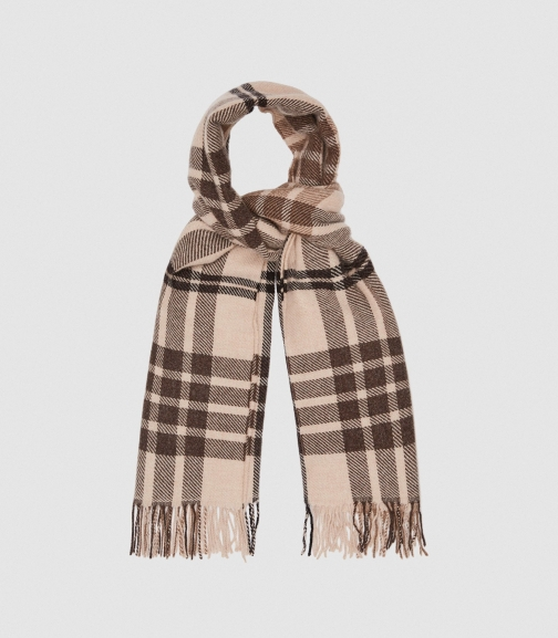 Reiss Steph - Wool Checked Natural, Womens Scarf