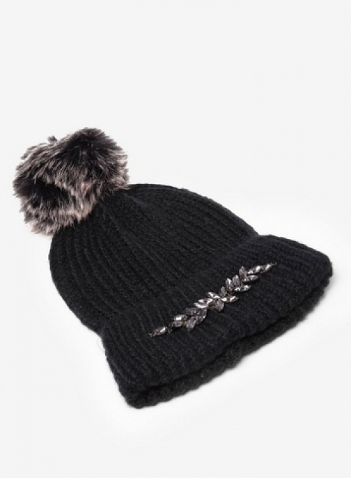Dorothy Perkins Womens Black Embellished Pom Pom - Black, Black Hat
