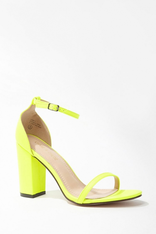 Forever21 Forever 21 Faux Leather Ankle-Strap Heels , Neon Yellow Shoes