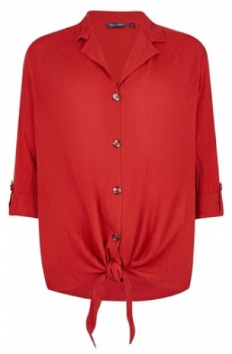 Dorothy Perkins Tall Red Crinkle Shirt