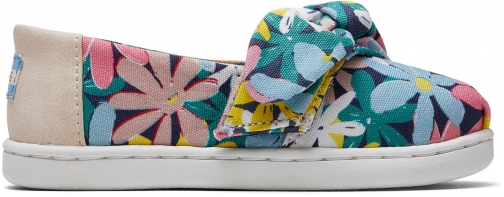 Toms Multi Giant Flowers Print Bow Tiny TOMS Classics Slip-On Shoes