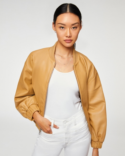 7 For All Mankind Womens Leather Beige Size: XS Bomber Jacket