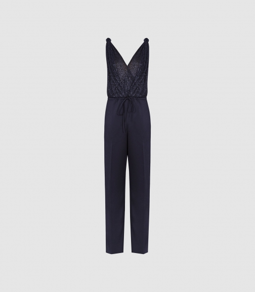 Reiss Margot - Metallic & Satin Navy, Womens, Size 6 Jumpsuit
