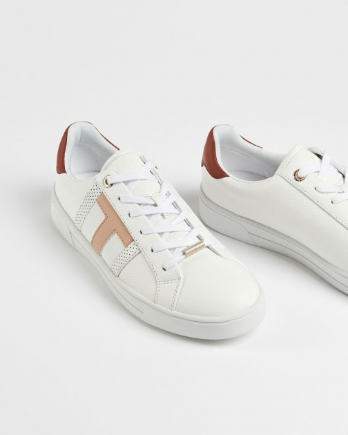 Ted Baker Leather Perforated T Detail Trainer