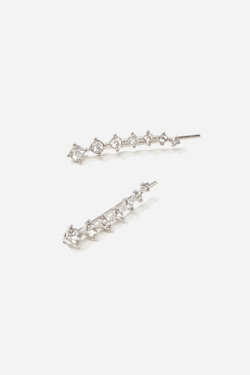 Forever21 Forever 21 Rhinestone Ear , Silver/clear Pin