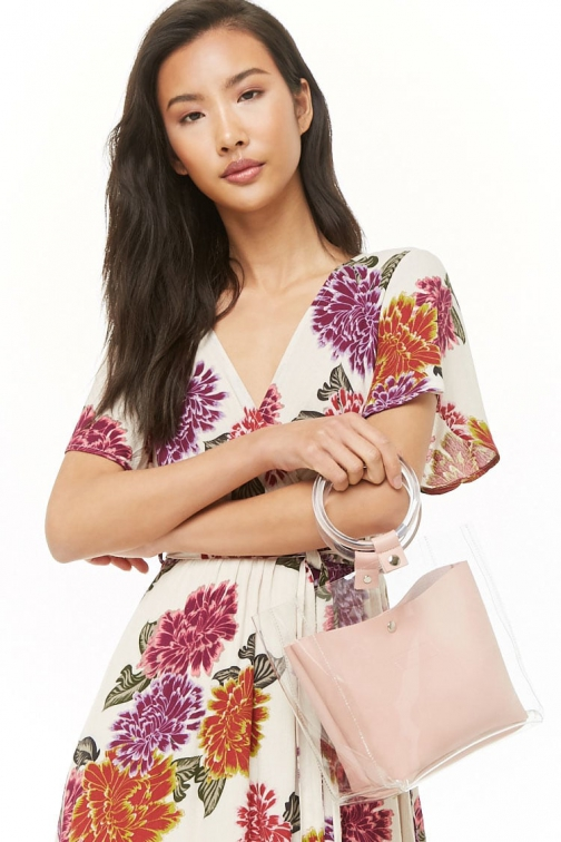 Forever21 Forever 21 Vinyl Faux Leather-Trim Clear/blush Satchel