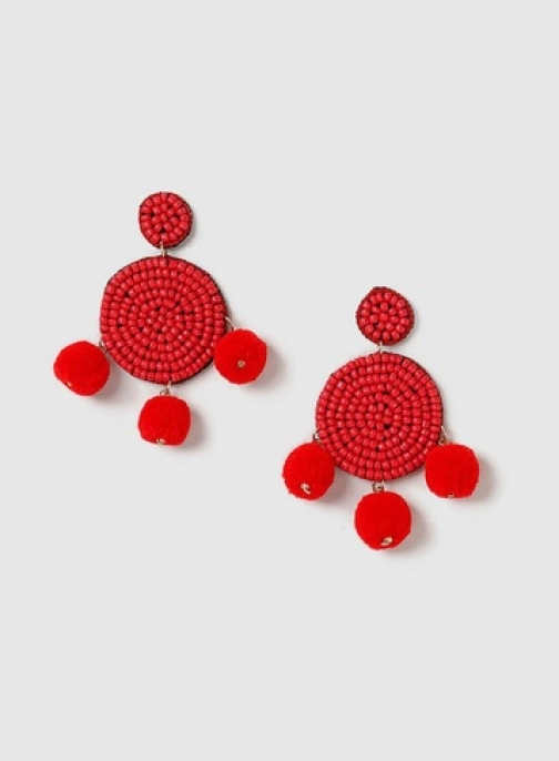 Dorothy Perkins Red Bead And Pom Earring