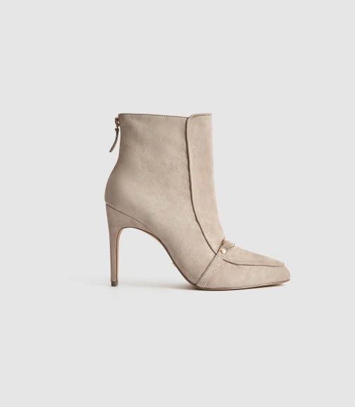 Reiss Jett - Suede Heeled Taupe, Womens, Size 6 Ankle Boot