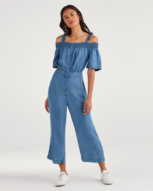 7 For All Mankind Women's Smocked Off-Shoulder Classic Blue Jumpsuit