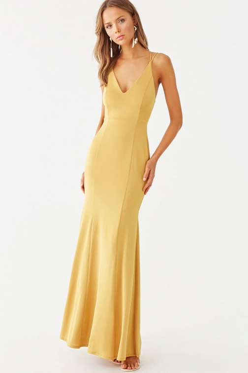 Forever21 Forever 21 Lace-Up Mermaid , Mustard Maxi Dress