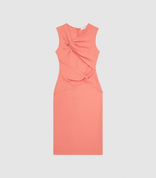 Reiss Alex - Ruched Coral, Womens, Size 4 Bodycon Dress