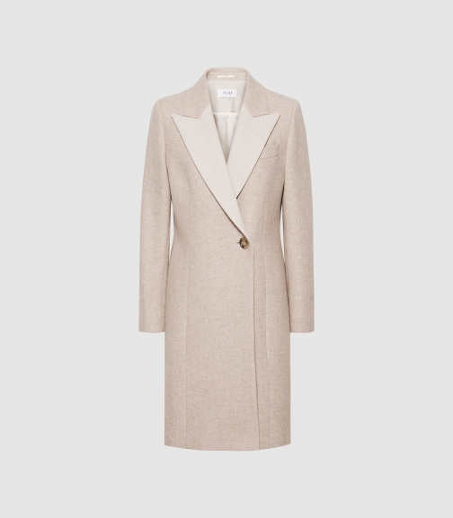 Reiss Mandie - Contrast Overcoat Neutral, Womens, Size 4 Collar