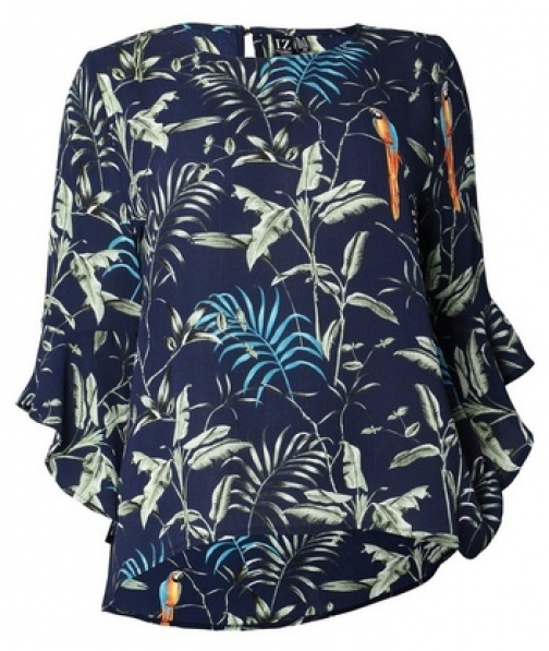 Izabel London Curve Navy Tropical Print Blouse