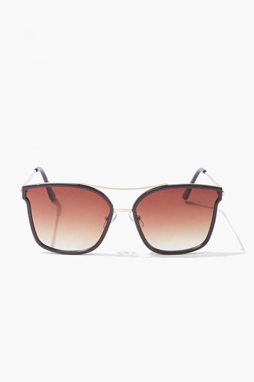 Forever21 Forever 21 Square Metal , Gold/brown Sunglasses