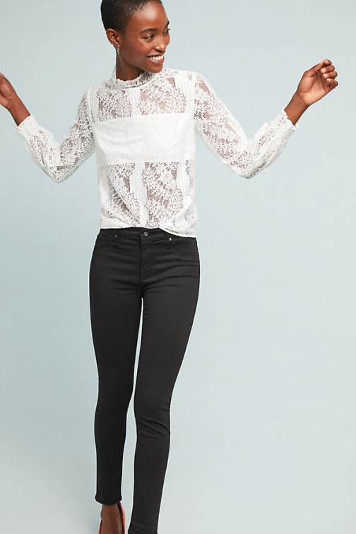Anthropologie AG The Abbey Sateen Mid-Rise Skinny Ankle - Black, Size Jeans