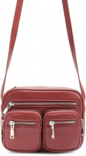 Forever21 Forever 21 Zippered Faux Leather Crossbody , Burgundy Crossbody Bag
