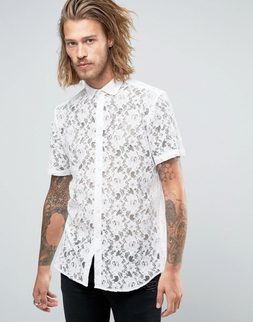 Asos Regular Fit Lace White Shirt