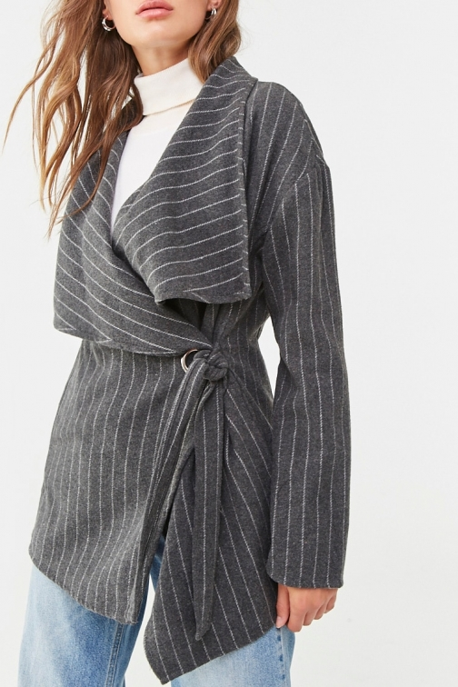 Forever21 Forever 21 Pinstriped Belted , Charcoal/cream Jacket