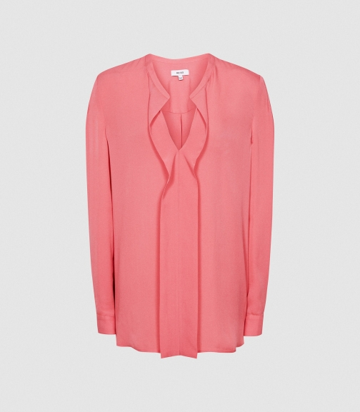 Reiss Rochelle - Pintuck Detailed Pink, Womens, Size 4 Blouse