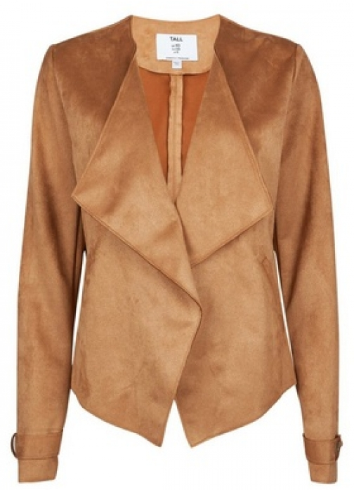 Dorothy Perkins Tall Tan Suedette Waterfall Jacket