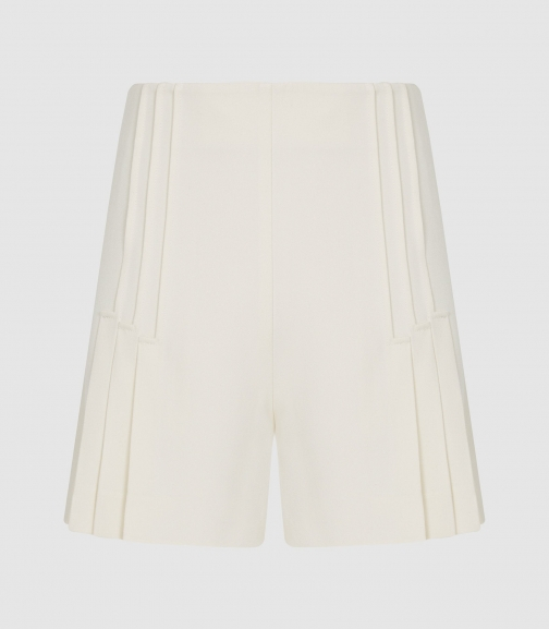 Reiss Aurora - Pleated Tailored White, Womens, Size 6 Short