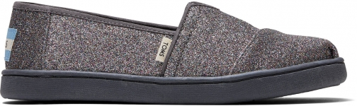 Toms Grey Iridescent Glitter Youth Classics Slip-On Shoes