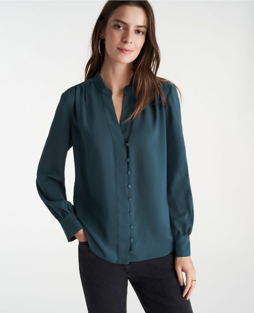 Ann Taylor Covered Button Popover Top Shirt