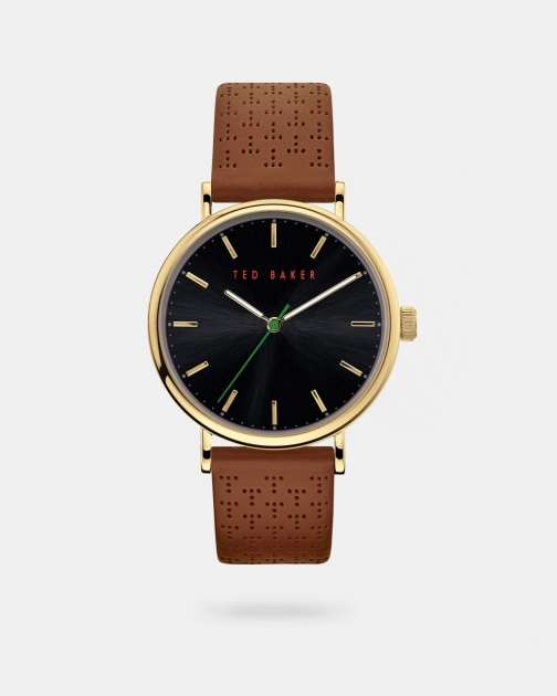 Ted Baker T Perforated Leather Strap Watch