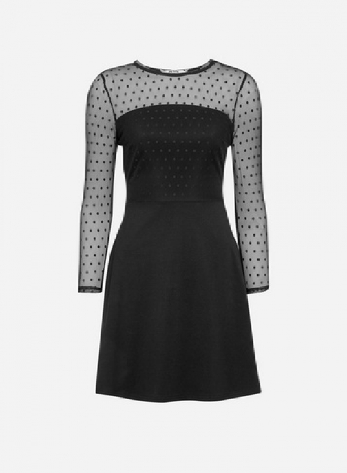 Dorothy Perkins Petite Black Polka Dot Print Dobby Mesh Fit And Flare Dress