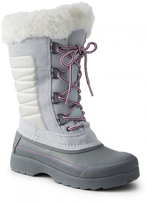 Lands' End Women's Squall Insulated Winter - Lands' End - Gray - 6 Snow Boot