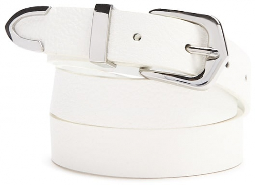 Forever21 Forever 21 Faux Leather White/silver Belt