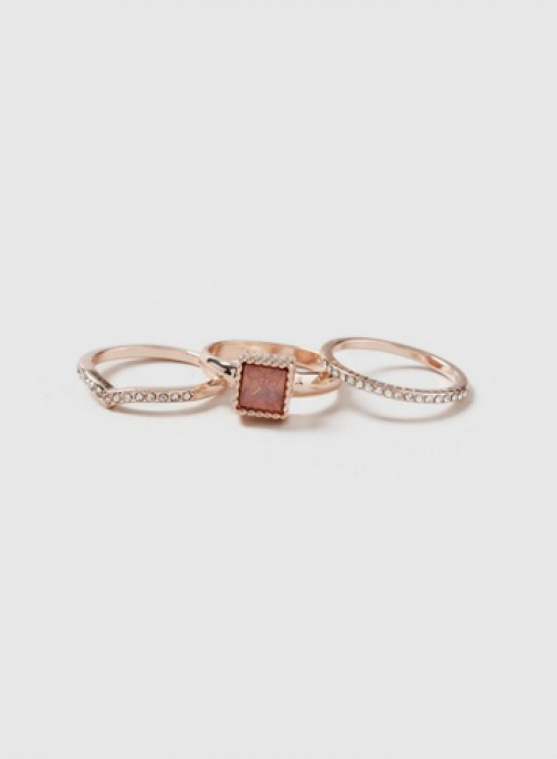Dorothy Perkins 3 Pack Rose Gold Square Stone Stack Ring