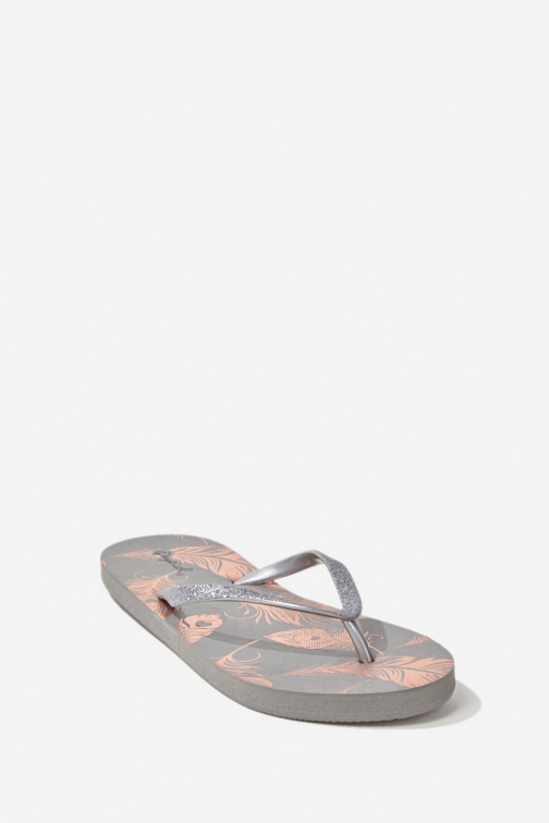Forever21 Forever 21 Feather Graphic Thong , Grey/multi Flip Flop