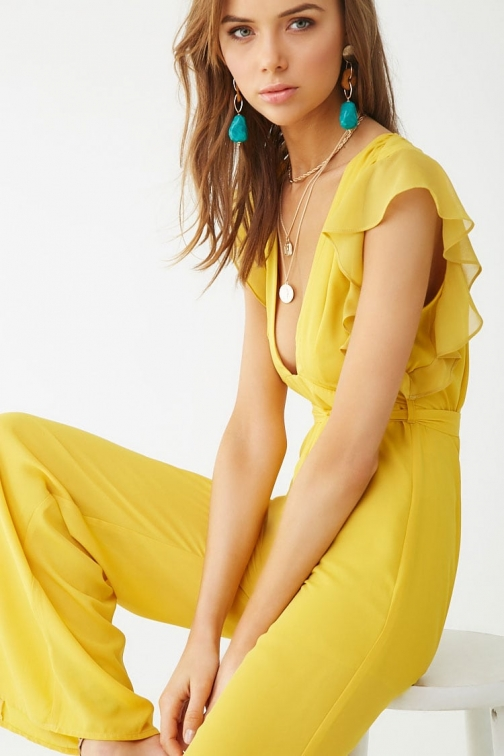 Forever21 Forever 21 Chiffon Flare , Mustard Jumpsuit