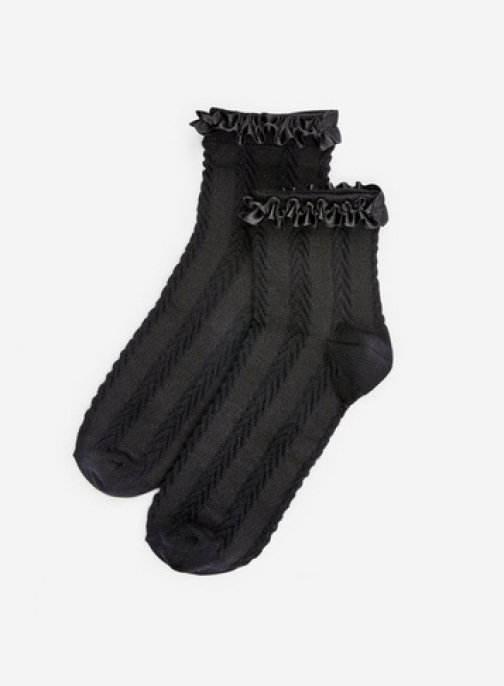 Dorothy Perkins Black Satin Frill Sock
