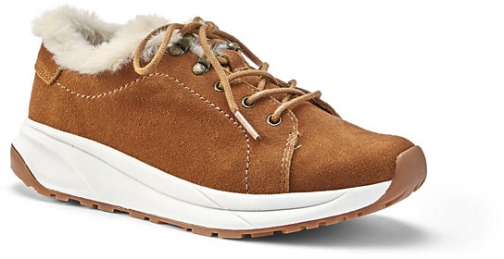Lands' End Women's Comfort Cozy Suede Leather Sneakers - Lands' End - Brown - 8 Trainer