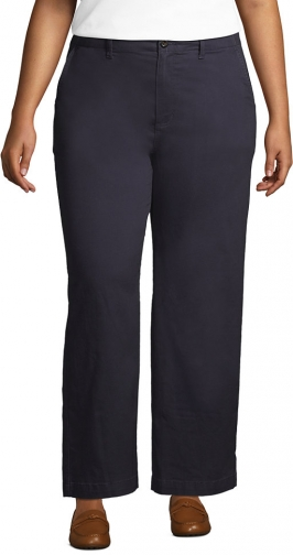 Lands' End Women's Plus Size Mid Rise Wide Leg Ankle Pants - Lands' End - Gray - 16W Chino