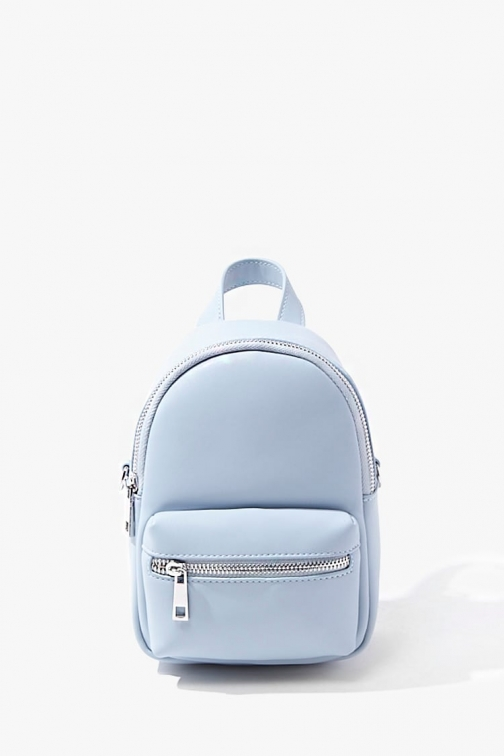 Forever21 Forever 21 Faux Leather Mini , Blue Backpack