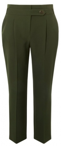 Dorothy Perkins Womens Khaki Button - Green, Green Tapered Trouser